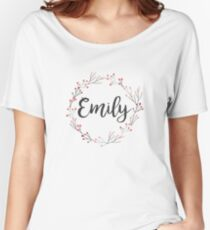 Emily   First Name in Pink Flower Wreath Women's Relaxed Fit T-Shirt
