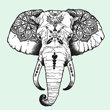Elefante tatuado de PaperTigressArt