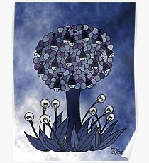 Fish tree and bulb flowers Poster