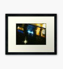 Wet City Lights Framed Print