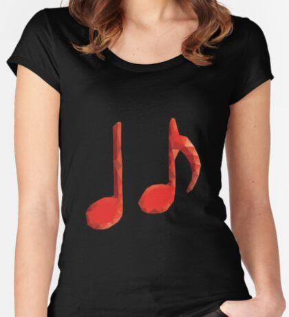Polygonale Musiknoten Tailliertes Rundhals-Shirt