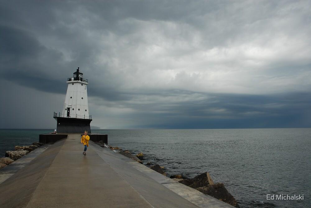 Ludington, Michigan lighthouse before the storm by Ed Michalski