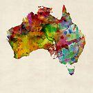 Australia Watercolor Map by Michael Tompsett