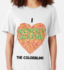 Ishihara Colorblind Test: I Heart the Colorblind (US spelling) Slim Fit T-Shirt