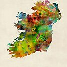 Ireland Eire Watercolor Map by Michael Tompsett