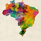 Brazil Watercolor Map by Michael Tompsett