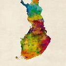 Finland Watercolor Map (Suomi) by Michael Tompsett