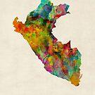 Peru Watercolor Map by Michael Tompsett