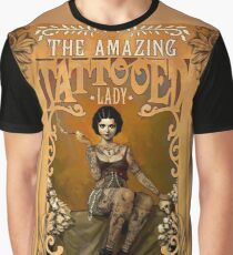 TATTOOED LADY; Vintage Advertising Print Graphic T-Shirt