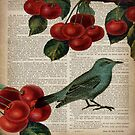 shabby chic hipster teal bird botanical cherry  by lfang77