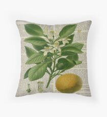 shabby chic scripts hipster french botanical orange Throw Pillow