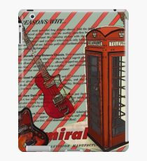 modern british rock music london telephone retro guitar  iPad Case/Skin