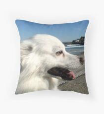 Sylvie at Narragansett Beach Seawall Throw Pillow