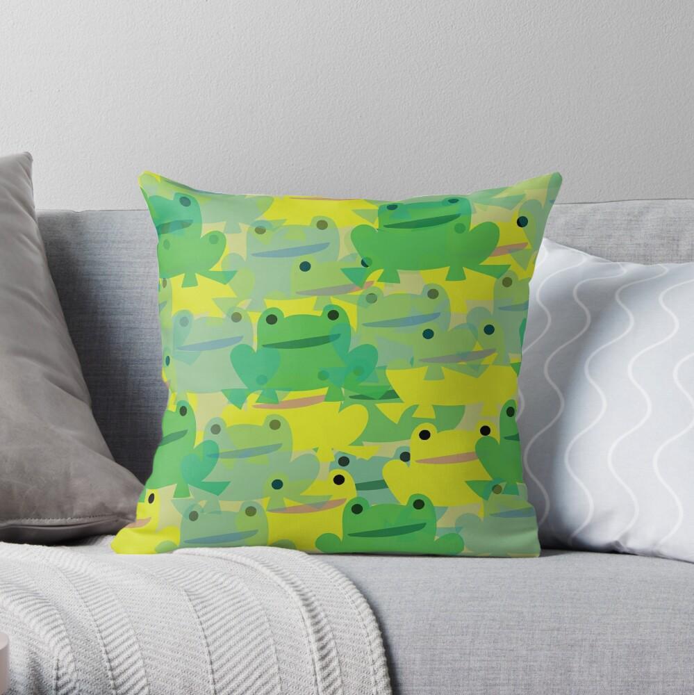 Frog Horde  Throw Pillow