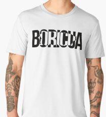 Puerto Rico Boricua Map Black Cut-Out Men's Premium T-Shirt