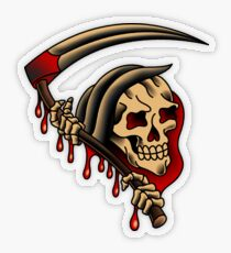 American Traditional Grim Reaper Transparent Sticker