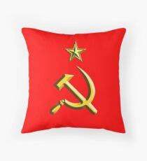 RUSSIA, USSR, Communist, Soviet Union, Hammer & Sickle, GOLD on RED Throw Pillow