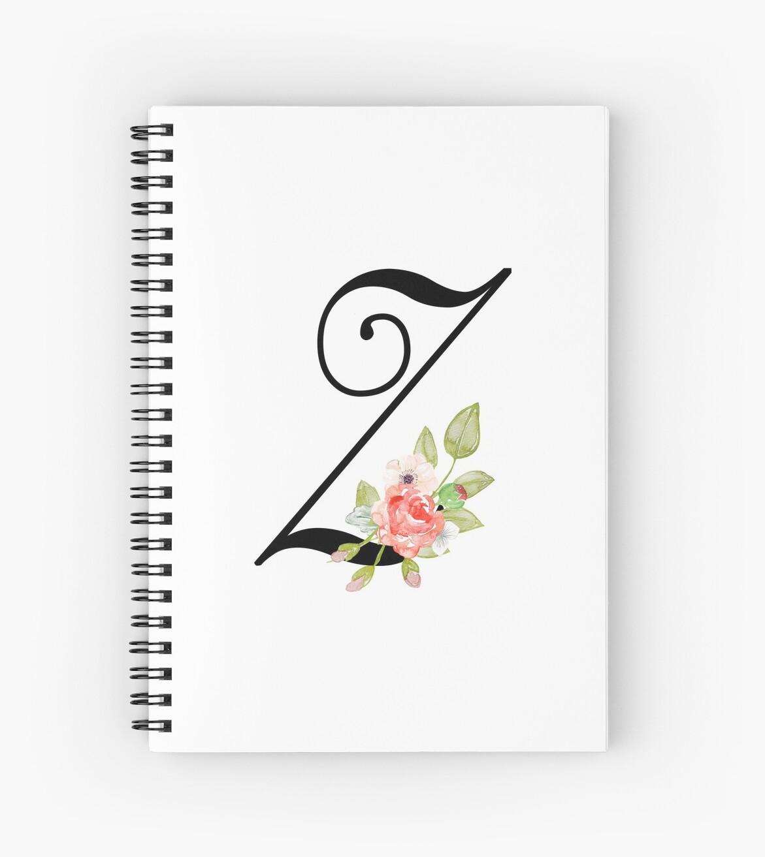 'Floral Monogram Fancy Script Letter Z' Spiral Notebook by Grafixmom