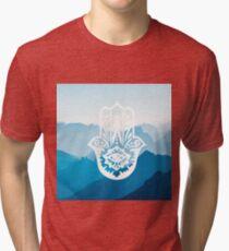 Zen Hamsa Hand Blue Mountains  Tri-blend T-Shirt
