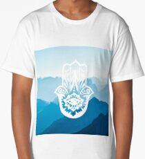 Zen Hamsa Hand Blue Mountains  Long T-Shirt