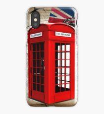 rustic grunge union jack retro london telephone booth iPhone Case/Skin