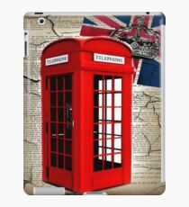 rustic grunge union jack retro london telephone booth iPad Case/Skin