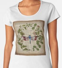 modern leaves botanical art vintage french dragonfly Women's Premium T-Shirt