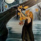 First Leaf Omen - Witch Art Autumn by CarolOchs