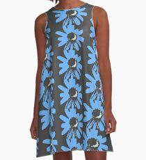 Retro pretty daisy blue black RMPD01 A-Line Dress