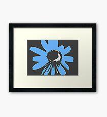 Retro pretty daisy blue black RMPD01 Framed Print