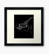 Acoustic Guitar Distressed Cool Musician Graphic Design Framed Print