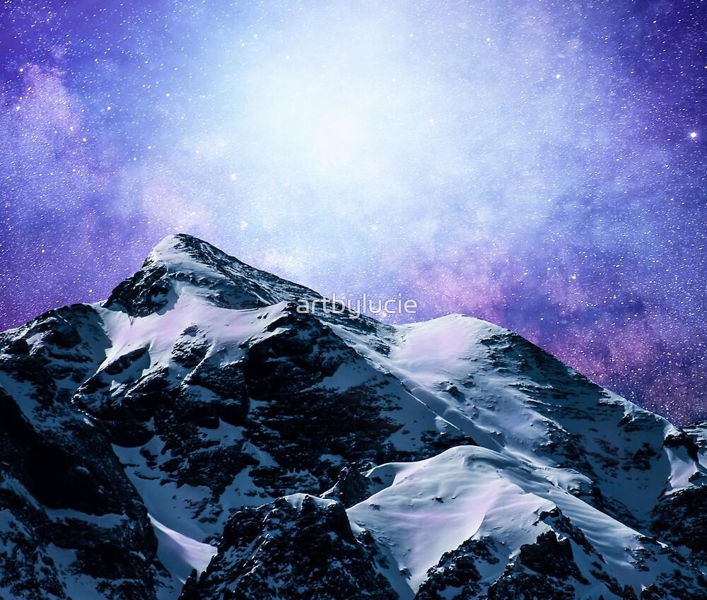 Design 59 mountains blue purple sky stars by artbylucie