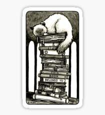 Studious Cat Bookplate Sticker