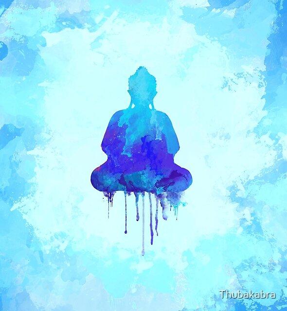 Blue Buddha watercolor illustration  by Thubakabra