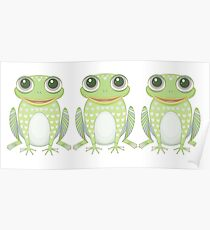 Happy Triplet Frogs Poster