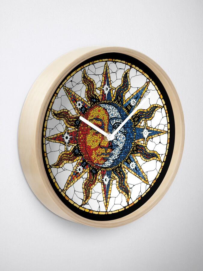 Alternate view of Celestial Mosaic Sun and Moon COASTER Clock