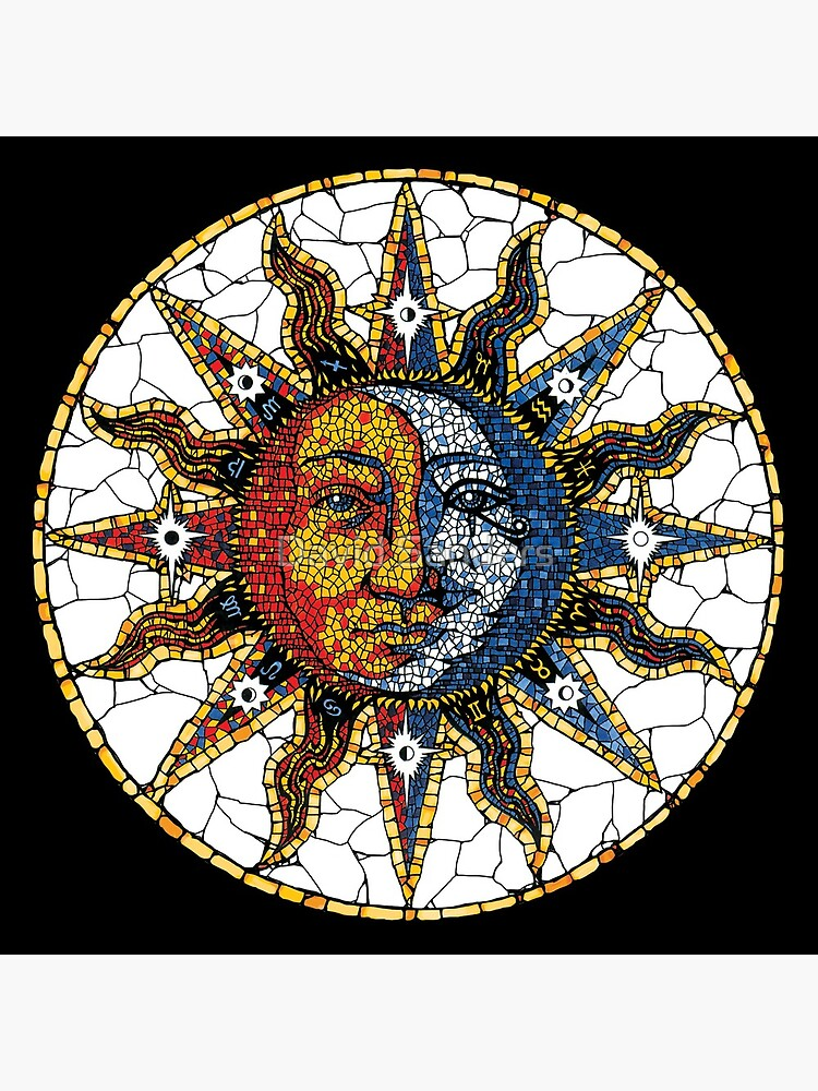 Celestial Mosaic Sun and Moon COASTER by sandersart