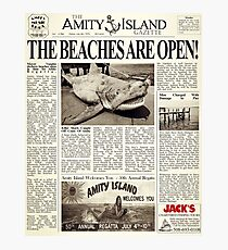 Jaws - Newspaper Front Page Photographic Print