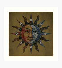 Vintage Celestial mosaic Sun & Moon Art Print