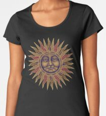 Celestial Golden Sun Face Premium Scoop T-Shirt