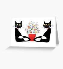 Two Cats With Flowers Greeting Card