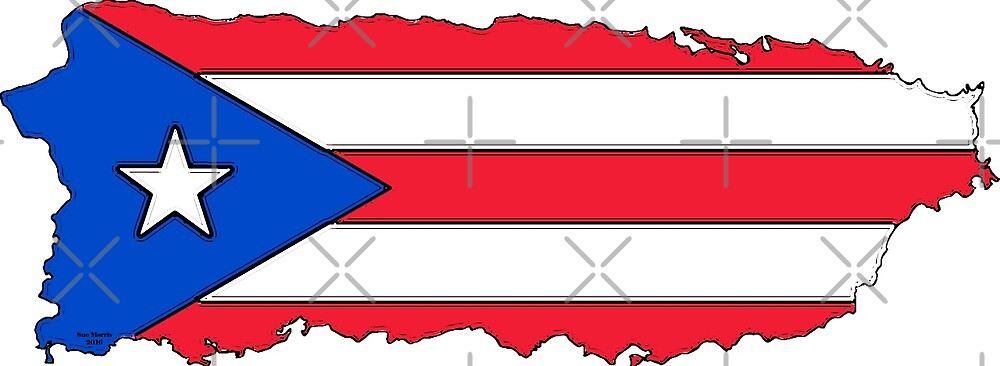 Puerto Rico Map with Puerto Rican Flag by Havocgirl