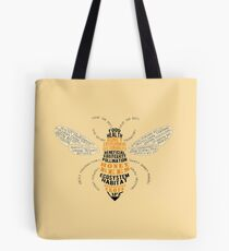 Honey Bee Word Cloud with Wings Tote Bag