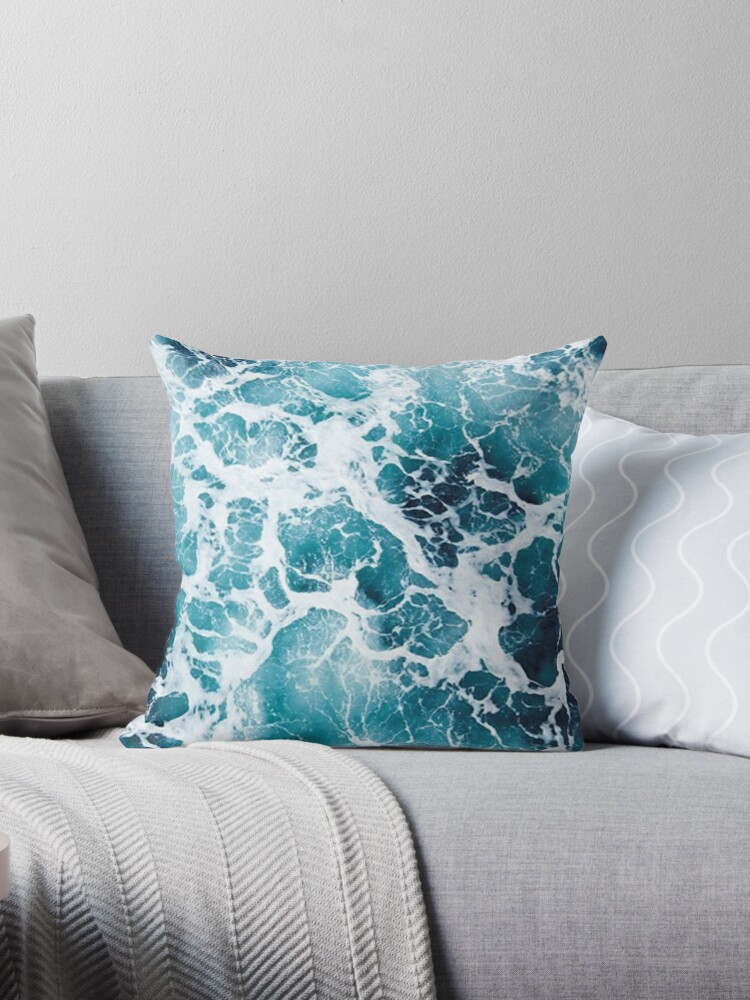 Beautiful Ocean Waves Aerial View Throw Pillow by Claire Andrews