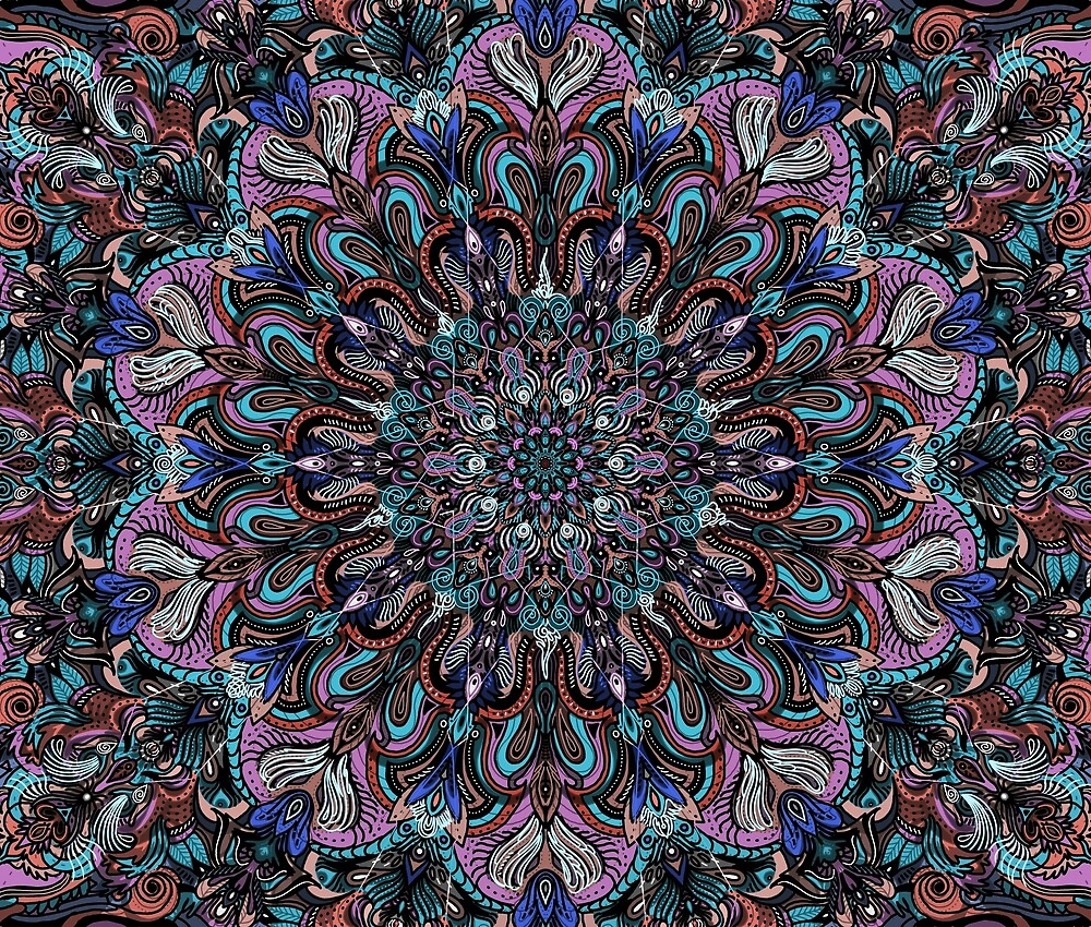 Blue and Red Organic Mandala Meditation by worktheangle