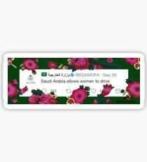 Saudi women can drive tweet Sticker