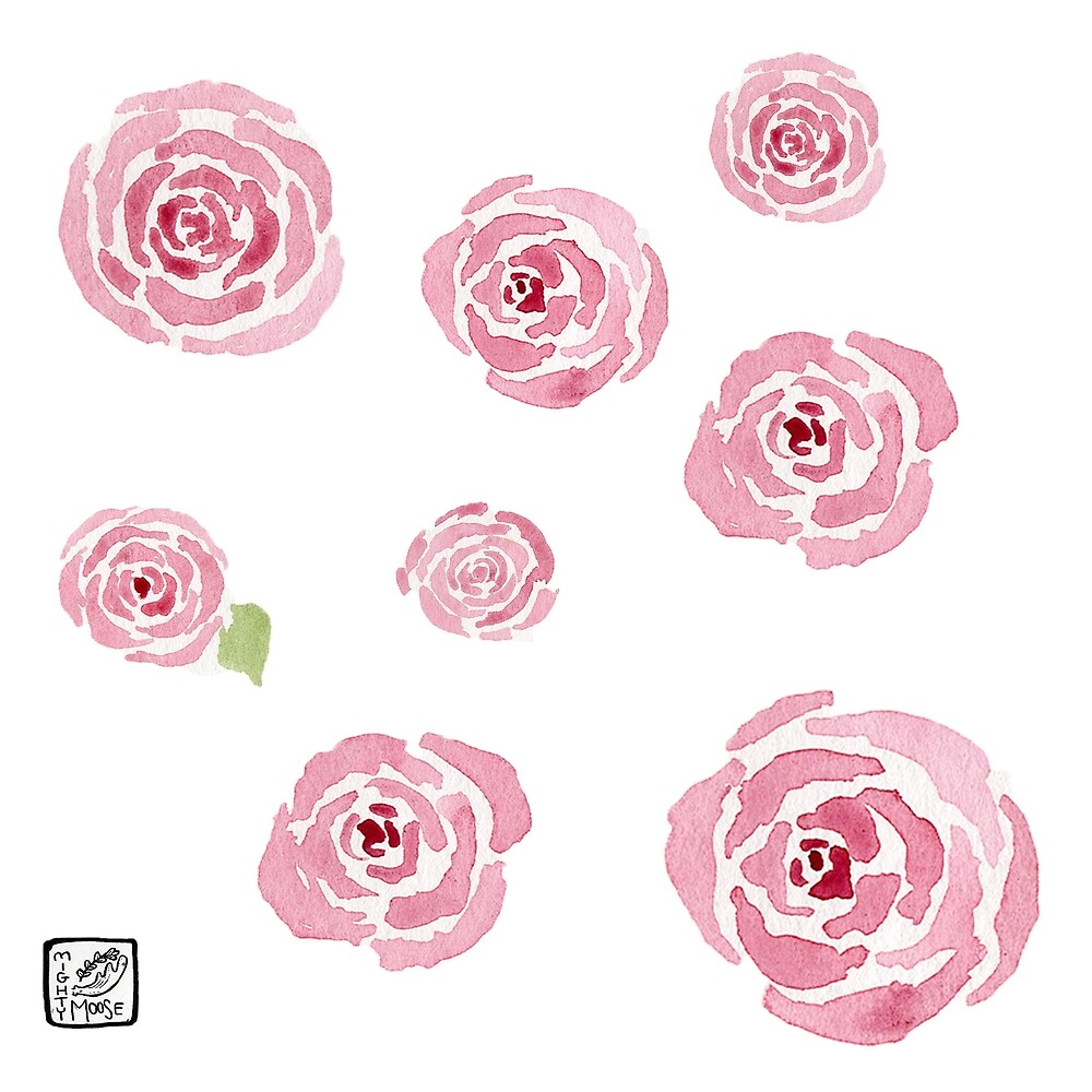 Watercolor Rose Sticker Pack (Large) by mightymooseart