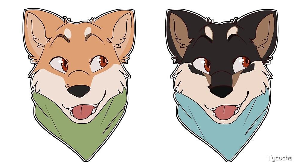 Double Shiba Inu Stickers by Tycusha