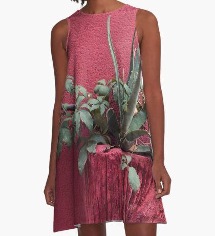 Rosa und Pflanze A-Linien Kleid