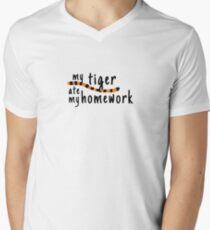 My Tiger Ate My Homework-Calvin and Hobbes Men's V-Neck T-Shirt